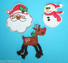 Santa Snowman Reindeer Christmas Iron On Patch Motif Appliqué Embellishment NEW