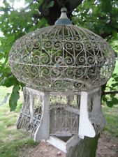 Superb Old Vtge TUNISIAN BIRD CAGE Chippy Wh/Blue Wire Scrolls and Faux BIRDS