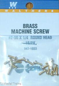 """Walthers #947-1033 /2-56 Brass Round Head Machine Screws -- 1/4 x .086"""" .64 x .2"""