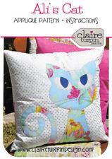 Ali's Cat Cushion PATTERN - Claire Turpin - Applique Cushion Pattern FREE POST