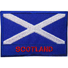Scotland Flag Embroidered Iron Sew On Patch Scottish T Shirt Kilt Coat Bag Badge
