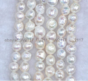 """Genuine Baroque luster 9-10mm Natural South Sea White Pearl Necklace 18-36"""" 14k"""