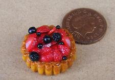 1:12 frutti frullati Flan Tart DOLLS HOUSE miniatura cibo DESSERT Torta Accessorio L1