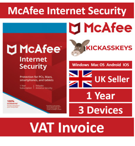 McAfee Internet Security 2021 3 Devices 1 Year - Instant Delivery To Email