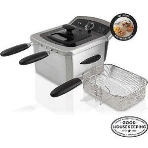 Countertop Deep Fryer Cooker Dual Basket Fries Fries 4 L Stainless Steel