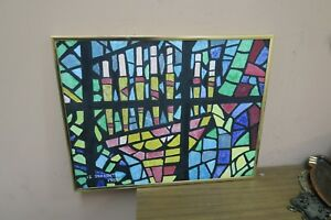 Oil on  Artist Panel Painting Signed Schachter 1982 Framed Stained Glass Menorah