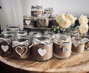 10 X Hessian Boho Rustic Style Small Jars Wedding