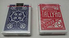 2 Mazzi carte da gioco Tally-ho Fan Back design dorso blu-rosso no9 stand. index