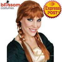 W703 Frozen Princess Anna Brown Braided Adult Costume Wig Plait Hair Cosplay