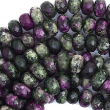 """8mm faceted ruby zoisite jade rondelle beads 15"""" strand S2"""