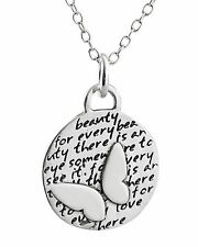 Butterfly Necklace - 950 Sterling Silver - Handmade Pendant Inspirational NEW