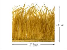 6 Inch Strip - Antique Gold Ostrich Fringe Trim Feather Halloween Wedding Dress