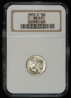 1952-D 10c SILVER ROOSEVELT DIME, NICE WHITE COIN *NGC MS67* LOT#S283