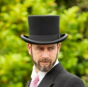 Brand New Traditional Men's Classic Formal Wedding Event Wool Black Top Hat