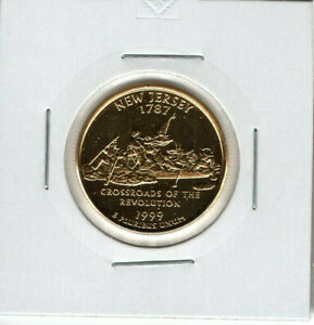 1999 UNITED STATES OF AMERICA QUARTER DOLLAR GOLD PLATED COIN NEW JERSEY