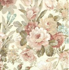 2 Serviettes en papier Roses Shabby Decoupage Paper Napkins Kate Cream