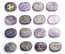 16 PIECES Amethyst Engraved Crystal Reiki KARUNA Magic Symbols Palm Stones