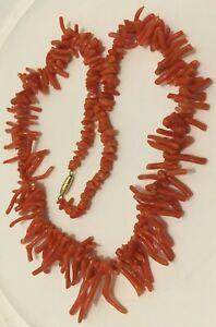 """Vintage Salmon Coral Branch 20"""" Necklace Barrel Clasp 35 Grams"""
