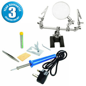 SILVERLINE 6PC 25W ELECTRIC SOLDERING IRON KIT + HELPING HANDS MAGNIFIER & STAND