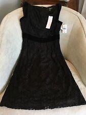 New DIANE VON FURSTENBERG Black Lace W/ Bronze Sleeveless Dress; SZ 12; NWT $495