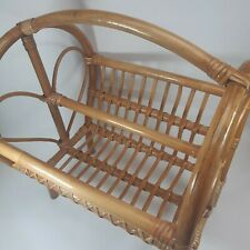 Vintage Rattan Wicker Bentwod Magazine Newspaper Holder Heart End Albini Style