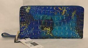 Brahmin Melbourne SKYLER Large Wristlet Clutch Travel Wallet PHTHALO Blue NWT