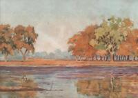 ENGLISH RIVER IN LANDSCAPE Antique Watercolour Painting c1930