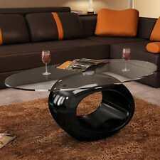 vidaXL Mesa de Centro Redonda Fibra de Vidrio Negra con Brillo Mesita de Café
