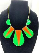 Gorgeous Art Deco Statement Necklace Striking Gold Tone Green & Squash Vintage