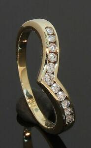 9CT Yellow Gold Channel Set Diamond Wishbone Ring Size K 1/2 0.25ct (70.18.034)