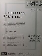 Mcculloch Chain Saw 1 81hd Parts Catalog Manual 2 Cycle Gasoline Chainsaw 1960