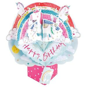 Birthday Card 3D Pop Up Card Unicorn Girl Daughter Sister Friend Gift Card