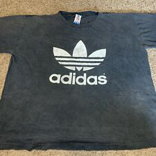 80s Vintage Adidas Logo Mens Xl Crop Top Shirt Double Sided Distressed Stitch