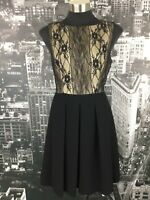 Cue Cocktail Dress, Size 12, Black & Tan with Lace, Fit and Flare