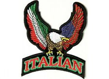 "(F13) Upwing EAGLE ITALIAN and US FLAG 4"" x 5"" iron on patch (2640) Biker Vest"