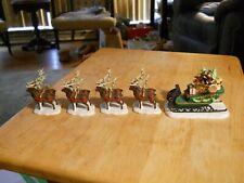Dept 56 Sleigh & Eight Tiny Reindeer #5611-1 Heritage Village Collection