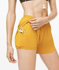 "NWT Lululemon High Rise Run Shorts 3.5"" Size 6 Honeycomb Yellow Tracker Speed Up"