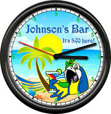 Personalized Margarita Bar 5 O'Clock Somewhere Parrot Your Name Sign Wall Clock
