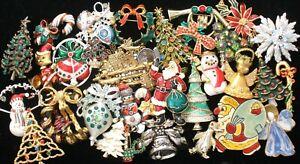 Vintage Christmas Brooches Lot of 32 Enamel Rhinestone Tree Pins Santa Claus
