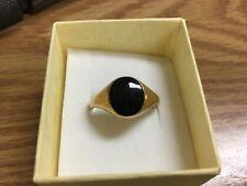 Stone Fashion Ring Size 12 1/4 New listing Vtg.18k Hge Gold Electroplated Men's Black