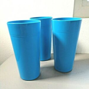 Lot of 3 VTG made in USA LARGE Tumblers Plastic 28 oz Teal Blue BRIGHT Stackable
