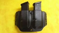 LEFT HAND DOUBLE MAG HOLSTER BLACK CARBON KYDEX GLOCK 30 45 ACP OWB