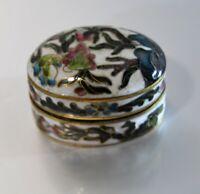 Bonita Caja De Pastillas Oval Bronce & Esmalte Cloisonné Finxixe Debxxe