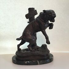 Beware of the dog Passez au large bronze Mastiff sculpture Charles Valton France