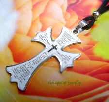Men Women Stainless Steel Trinity Cross + Bible White Enamel Surfer Necklace