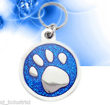 Blue Glitter Paw Personalised Pet ID tag - Cat-Dog Small Disc Free Engraving