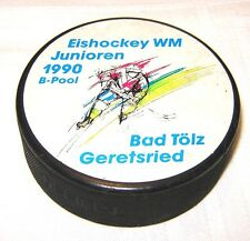 Official hockey puck from The 1990 World Junior Ice Hockey Championships Pool B