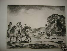 Eugene Higgins etching old rare signed print military