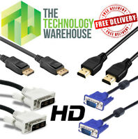 Monitor Cables DisplayPort HDMI DVI VGA 1.8M - Fully Functional - Free Delivery