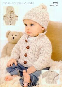 Sirdar Sweater Jackets & Hat Knitting Pattern - 1776 - Snuggly DK Double Knit